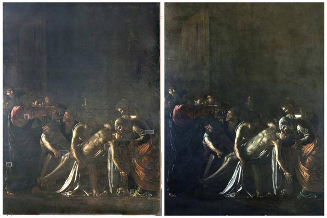 "Combination picture showing Caravaggio's ""Resurrection of Lazarus"" before and after its restoration in Rome"
